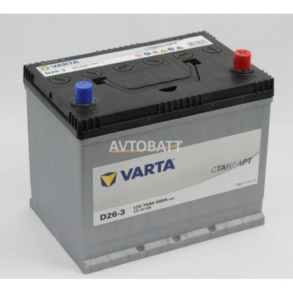 Аккумулятор Varta Стандарт 6СТ-75.0 (575 301 068) яп.ст/бортик